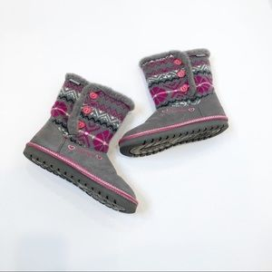 Skechers Gray and Pink Sweater Boots, Sz 4